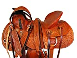 Western Cowboy Saddle 17 16 15 Trail Leather Horse Roping Work Ranch Saddle Set (17')