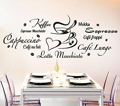 Wandora Wandtattoo Kaffeesorten + Tasse I schwarz (BxH) 120 x 45 cm I Küche Esszimmer Cappuccino Espresso Sticker Aufkleber Wandaufkleber Wandsticker G178