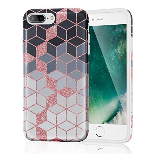 ZQ-Link Funda iPhone 7 Plus,Funda iPhone 8 Plus,Silicona Marble Case Cover - Carcasa de [TPU] para móvil y diseño de geometría en [Negro Rosa Blanco]