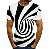 Short Sleeved Shirts for Men Black and White Oval Vortex T-Shirt Men's 3DT Shirt Short-Sleeved Round Neck Digital Printing Casual Short-Sleeved-Color_XL