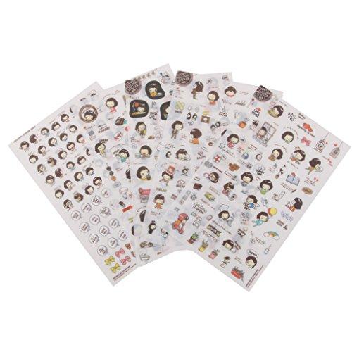 MagiDeal 5 Blätter Cooky's Helloday Aufkleber Sticker DIY Tagebuch Scrapbooking Deko