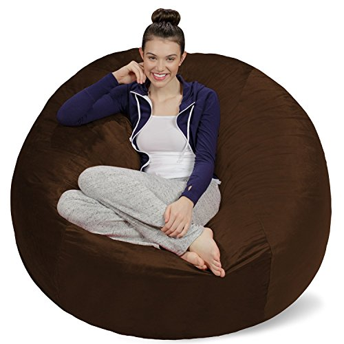 Sofa Sack - Plush Ultra Soft Bean Bags Chairs for Kids, Teens, Adults - Memory Foam Beanless Bag Chair with Microsuede Cover - Foam Filled Furniture for Dorm Room - Chocolate 5'