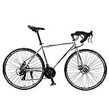 Bicicleta de carretera para hombres y mujeres, 700C aleación de aluminio de la curva del manillar de carreras con SHIMANO SORA 30 Desviador velocidad Sistema de freno de disco y dobles,Titanium silver