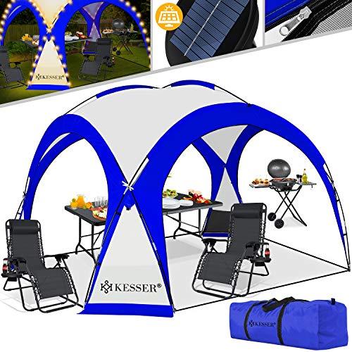 KESSER® LED Event Pavillon inkl. Solarmodul Designer Dome Gartenzelt 3,6 x 3,6m Camping Garten Partyzelt Eventzelt Festzelt Eventpavillon mit Beleuchtung wasserabweisend UV-Schutz Strandzelt Blau