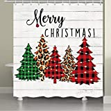 JAWO Farmhouse Weihnachten Duschvorhang für Badezimmer Buffalo Karo Weihnachtsbaum Badezimmer Vorhang Weihnachtsbaum Badezimmer Dekor Weihnachtsbaum Badezimmer Set Badezimmer Zubehör