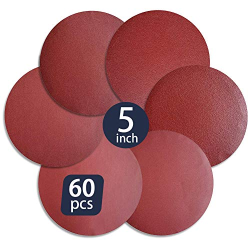 60 PCS 5-Inch Assorted PSA Aluminum Oxide Sanding Disc,NO-Hole Self Stick