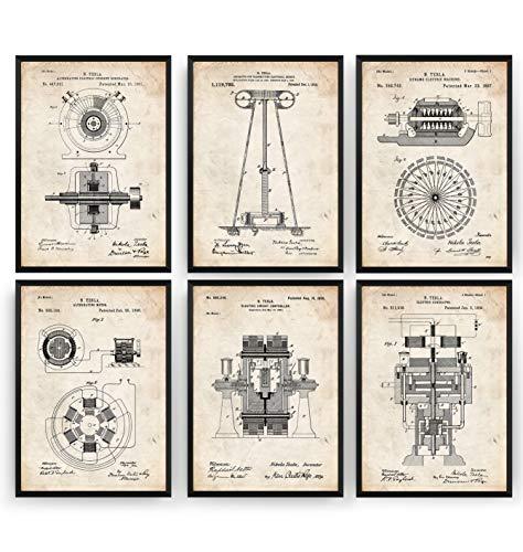 Tesla Set Of 6 Patent Posters - Engineering Inventor Giclee Print Engineer Art Kunst Wall Dekor Decor Entwurf Wandkunst Blueprint Geschenk Gift - Frame Not Included