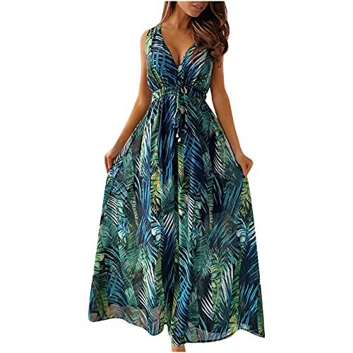 Hailmkont Damen Kleider Elegant V-Ausschnitt Kleid Ärmellos Maxikleid Lang Blumen Abendkleid A Line Schwingendes Kleid Rückenfreies Partykleid
