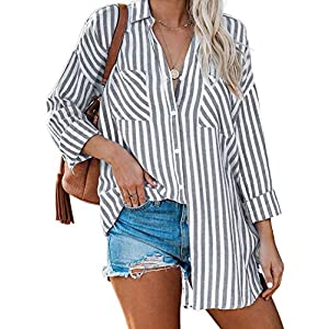 Women's Casual V Neck Long Sleeve Button-Down Collar Blouses and Tops