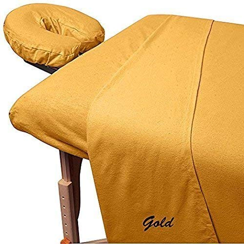 Amazon Best 3-Piece 300 Thread-CountEgyptian Cotton Massage Table Sheet Set - Soft Cotton Facial Bed Cover - Includes Flat and Fitted Sheets with Face Cradle Cover Fabulous Looking Gold Color