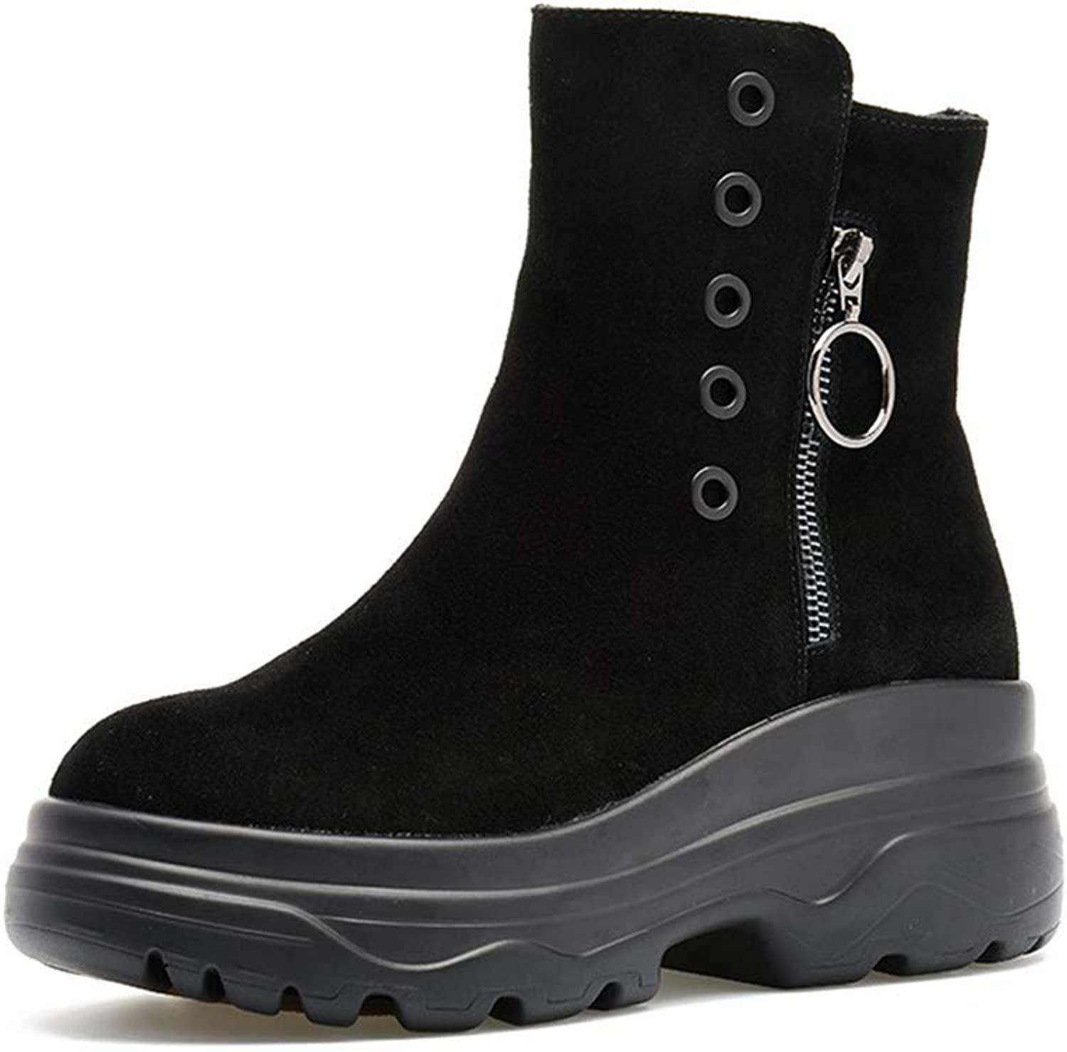 Women's shoes Leather Winter New Platform shoes High-top Casual shoes Round Head Outdoor Walking shoes Warm shoes Black (color   Black, Size   39)