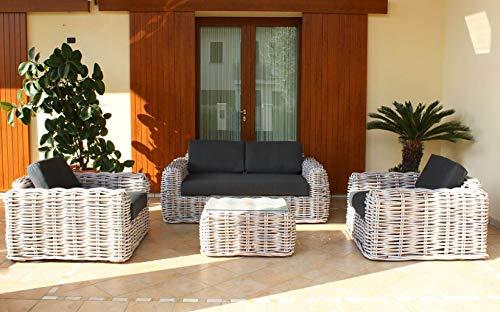 Milani Home s.r.l.s. Salón de jardín con Cojines entrelazados de ratán sintético