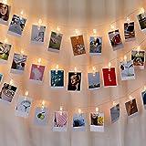 写真飾りライト LED ストリングスライト 3M 20個LED 写真クリップ DIY壁飾り イルミネーションライト ピクチャーフレーム ジュエリーライト ワイヤーライト クリスマス/新年/結婚式/誕生日/祝日/パーティ (Gold)