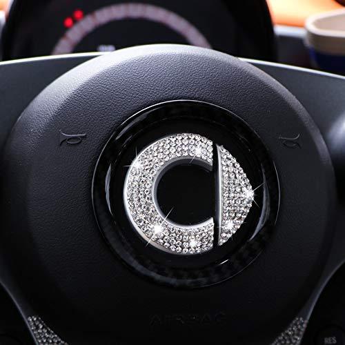 BLOUR Personalisierte Flash Drill Logo Lenkrad Aufkleber für Mercedes Smart Fortwo Forfour 453 451 Auto Dekoration Aufkleber Zubehör
