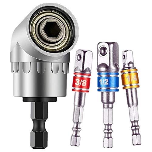 Juego de 3 adaptadores para llaves de vaso (1/4,3/8,1/2 pulgadas) + 1 pieza para destornillador angular de 105° (1/4 pulgadas, broca hexagonal)