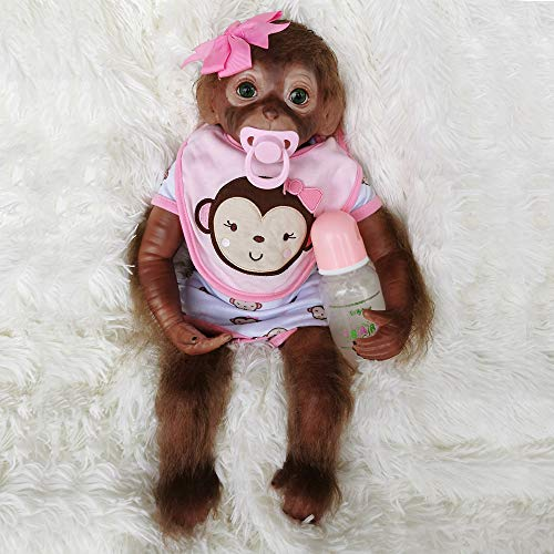 Terabithia 20 Pulgadas 51 CM Realista Realista Toque Suave Reborn Monkey Baby Dolls Cuerpo ponderado Muy Suave Silicona Vinilo Coleccionable Muñeca Flexible Siente Real