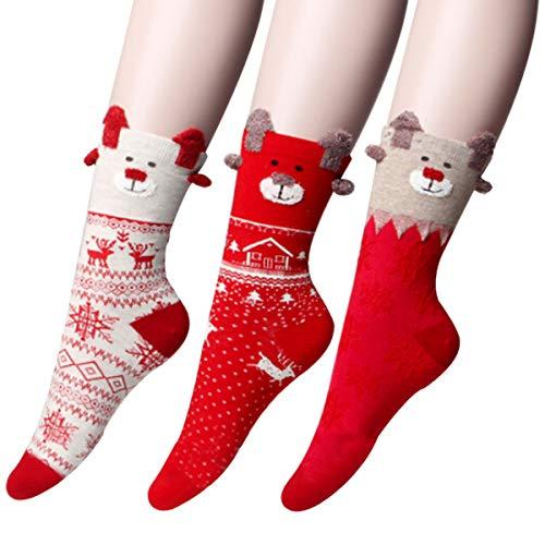YUDICP 3 Pairs Women Socks Christmas Socks Cute Funny...