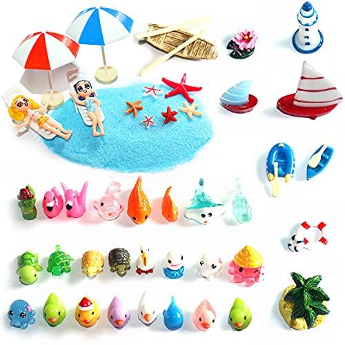 Mini tumbona de playa con diseño de paisaje, sombrillas, palmeras, accesorios decorativos, se utiliza para cajas de arena, casa de muñecas, modelismo, decoración de macetas y acuarios.