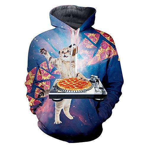 BMSYTY Series 3D Hoodies HS05690 Langarm Pullover Unisex Sweatshirt 3D Hoody für Männer und Frauen mit Pizza DJ-Katzen-Entwurf,l