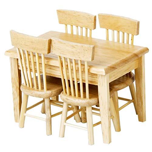 Juego de mesa de comedor de casa de muñecas 1:12, muebles en miniatura, muebles de madera, mesa de comedor con silla (color madera)