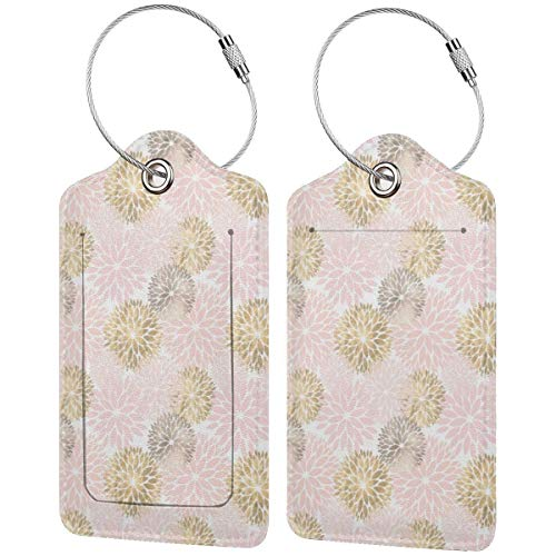 Etiquetas de equipaje con diseño abstracto de Dalia de oro rosa para...