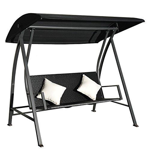 Outsunny® 3-Sitzer Hollywoodschaukel Schaukel Polyrattan Eisen mit Kissen belastbar bis 360kg Neu (Schwarz)