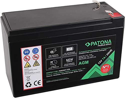 PATONA Premium AGM 12V 7Ah Blei Batterie VRLA Wartungsfrei 1800 Zyklen (YTX7A-4 CTX7A-BS)