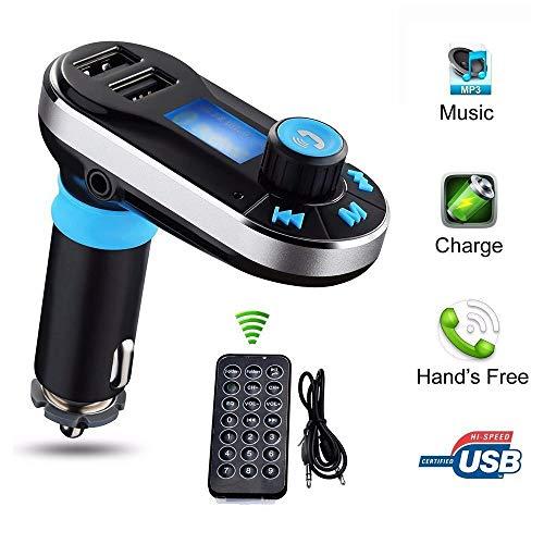 Chargeur de Voiture Double port USB émetteur FM Lecteur de Musique Voiture Bluetooth sans fil 5 en 1 qui Prend en Charge les cartes SD/TF contrôle de la musique appel pour iPhone Andriod (bleu)