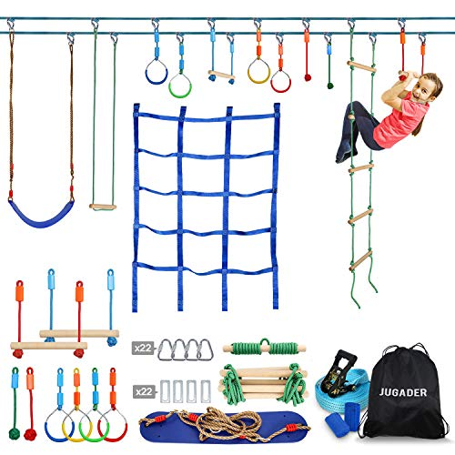 Jugader Ninja Warrior Obstacle Course for Kids - 2X50FT Ninja Slackline with Climbing Net, Swing, Ladder, Long & Short Monkey Bars, Gym Rings, Rope Knots (Double Line Design)