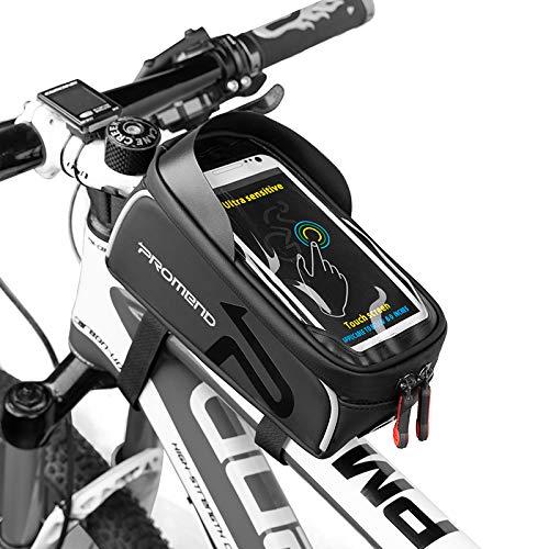 自転車 バッグ トップチューブバッグ サドルバッグ フレームバッグ 大容量 PU&TPU 防水 遮光 防圧 日除け 6.2インチスマホ対応 iphone android 多機種対応 防水バッグ スマホホルダー 多機能 イヤホン穴あり取り付け簡単 携帯ホルダ