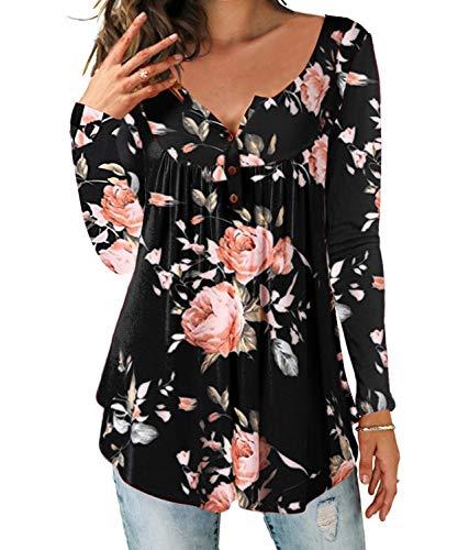 DEMO SHOW Damen Tunika Top Locker Langarm V Ausschnitt Knopfleiste Plissiert Floral Henley Shirt Bluse T Shirt (Schwarz, XL)