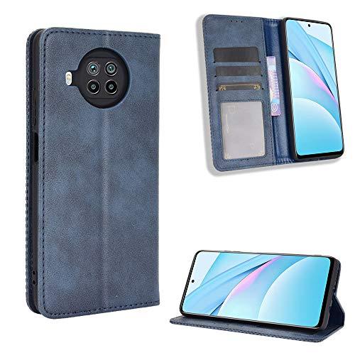 Lederhülle für Xiaomi Mi 10T Lite 5G Hülle, Flip Hülle Schutzhülle Handy mit Kartenfach Stand & Magnet Funktion als Brieftasche, Tasche Cover Etui Handyhülle für Xiaomi Mi 10T Lite 5G, Blau