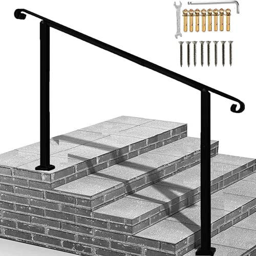 Outdoor Hand Rails for Steps, 4-Step Handrail Fits 1 to 4 Steps Mattle Wrought Iron Handrail Stair Rail with Installation Kit Hand Rails for Outdoor Steps(Black)
