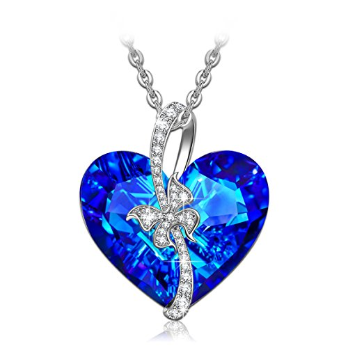QIANSE Valentine's Day Necklace Gifts Heart of Ocean Necklace Pendant Necklaces for Women Jewelry Gift for Birthday Girlfriend Wife Sapphire Swarovski...