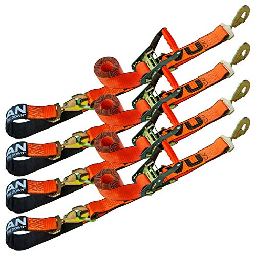 Review VULCAN Axle Tie Down Combo Strap with Snap Hook Ratchet - 2 Inch x 114 Inch, 4 Pack - PROSeri...