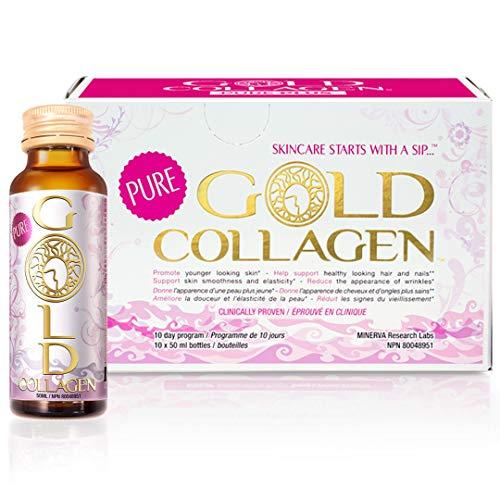 PURE GOLD COLLAGEN | Le No. 1 Peptides de Collagène Marin liquide (hydrolysé) + Acide Hyaluronique + Vitamines + Minéraux. Cure beauté anti-âge et bien-être de Peau, Cheveux, Ongles & Articulations! 10 journées.