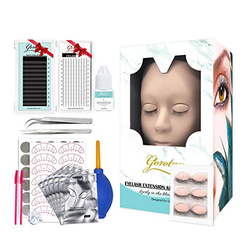 Eyelash Extension Kit,Mannequin Head With Replaced Eyelids Silicone Training Exercise Set Lash Extension Supplies for Beginners,Professional Makeup And Eyelash Extension Kit