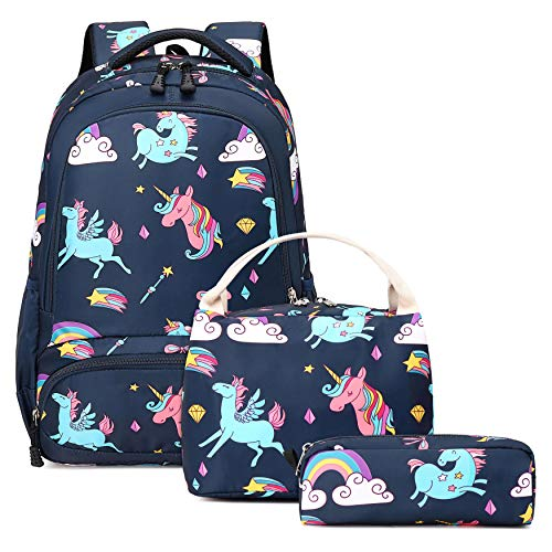 Unicorn School Backpack for Girls - 3 in 1 Kids Waterproof Cute School Bookbag Set with Lunch Bag Pencil Case for Kindergarten Elementary Navy Blue