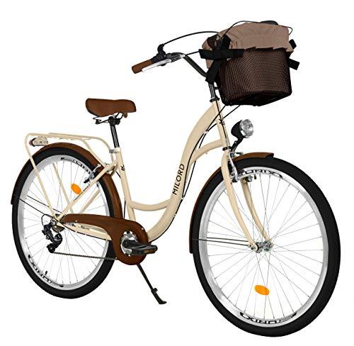 Milord Bikes Bicicleta de Confort, el Color del Capuchino, de 7 Velocidad y 26 Pulgadas con Cesta y Soporte Trasero, Bicicleta Holandesa, Bicicleta para Mujer, Bicicleta Urbana, Retro, Vintage