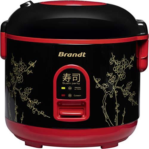 BRANDT - Cuiseur à riz - Sushi Party - 1,2 L - Fonction de Maintien au Chaud - Noir et Rouge