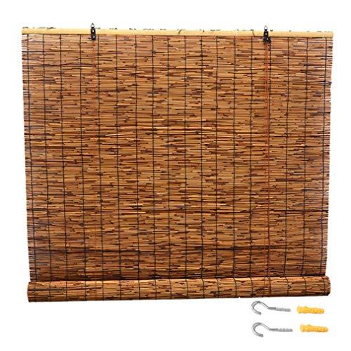 NIANXINN Bambusrollo Raffrollos,Sonnenschutz,Bambus-Rollo Natur,Holzrollo Für Fenster, für Außen/Innen/Garten/Balkon/Fenster, Anpassbar(50x150cm/20x59in)