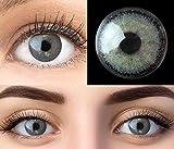 GLAMLENS Mirel Dark Gray Grau + Behälter | Sehr stark deckende natürliche graue Kontaktlinsen farbig | farbige Monatslinsen aus Silikon Hydrogel | 1 Paar (2 Stück) | DIA 14.00 | Ohne Stärke