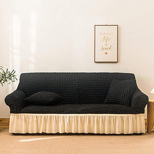 Fsogasilttlv Funda Cubre Sofá Chaise 1 Plaza, patrón de Rayas Lisas, Funda de sofá, Falda de Seersucker para Sala de Estar, Funda de sofá elástica, Funda de sofá, 1 Uds
