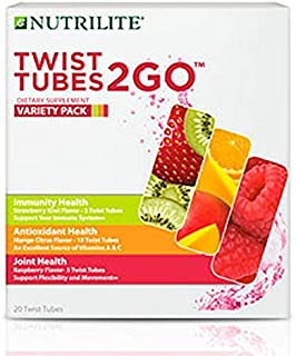 Nutrilite Twist Tubes 2GO – Variety Pack- Antioxidants, Immune & Joint Health - 20 Tubes