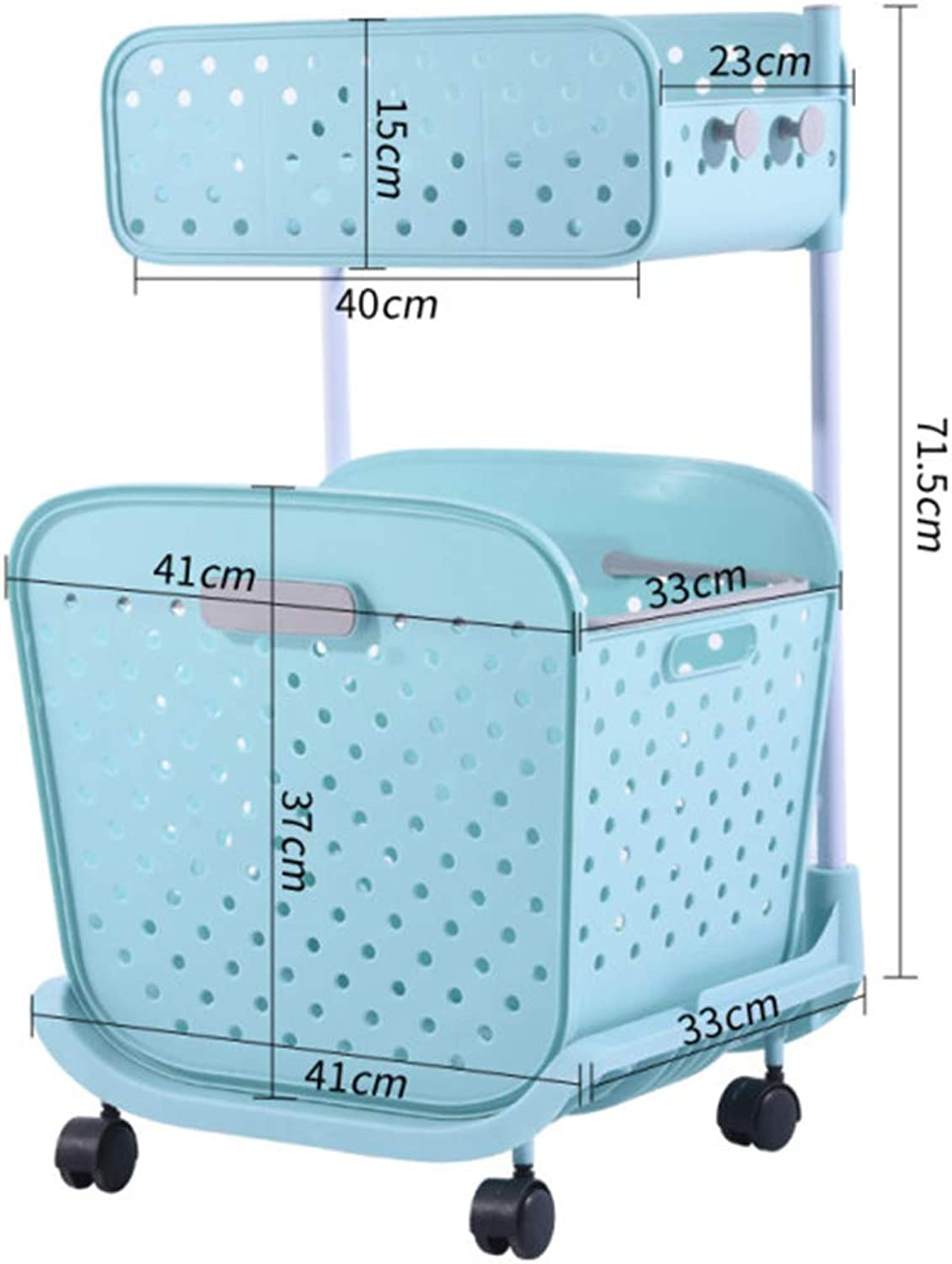 Storage Basket Toy Storage Laundry Basket Extra Large Plastic Double Storage Basket Rack ZHANGQIANG (color   bluee, Size   Double Layer)