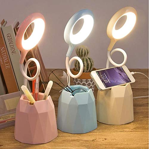 HAYDEN Rechargeable Led Table Lamp/Desk Lamp 3 Color Modes with Pen Stand/Phone Stand 360° Flexible Study Lamp for Bedroom and Office (Multicolor)