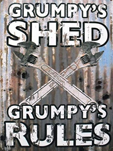 BIT DIPLA Grumpy'S Shed/Spanners Grumpy'S Rules Fun and unique vintage decorative painting hanging bar club house wall tin sign poster 20 x 30 cm