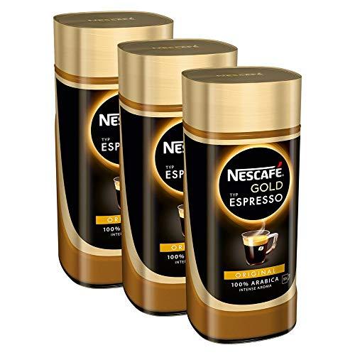 NESCAFÉ Gold Typ ESPRESSO, hochwertiger Instant Espresso mit 100% feinen Arabica Kaffeebohnen, koffeinhaltig, mit samtiger Crema, 3er Pack (3 x 100g)