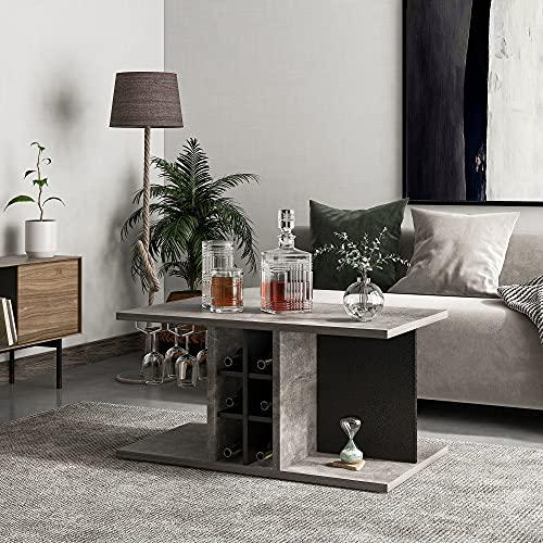 Gona Mesa de café con estante para vino, mesa de salón con soporte para vasos de metal, espacio de almacenamiento extraíble, 2,5 cm de grosor, color gris (95 x 55 x 45 cm)