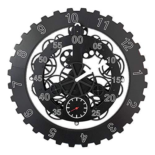 ZY&DD Motion Getriebe Uhr,Wanduhr,Wall Sticker Uhr,Vintage Handwerk Uhr,Dekorative wanduhr Für Office Schulhaus Konferenzraum-schwarz Durchmesser:45cm(18inch)
